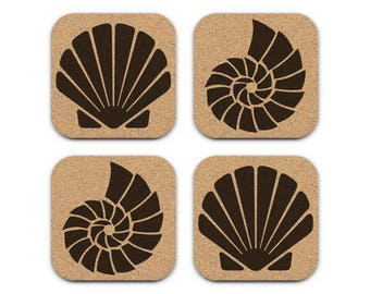 SEASHELLS Nautical Coastal Beach Decor Cork Coaster Set Of 4 Barware Decoration