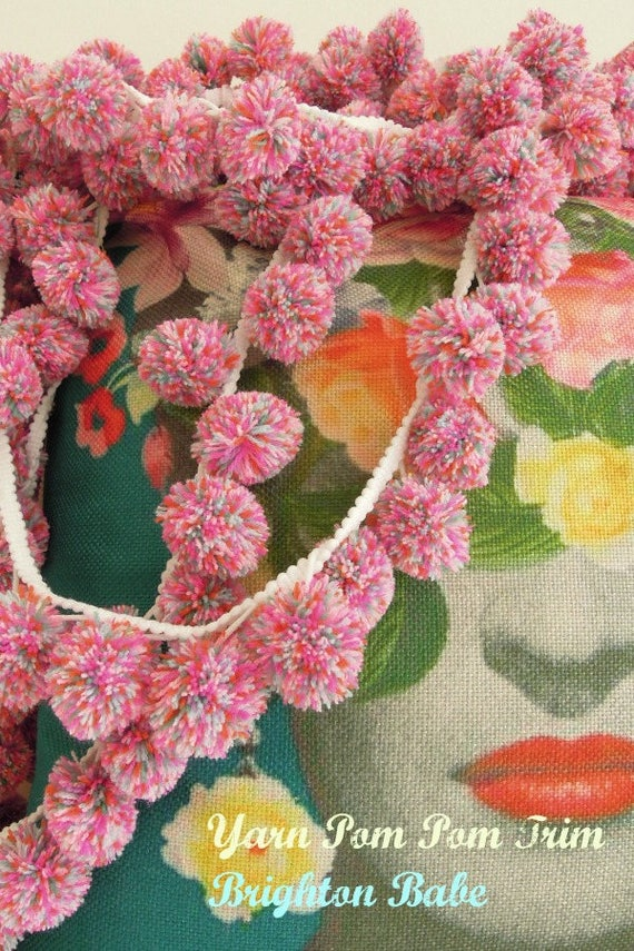 Large yarn pom pom trim 3cm  Large multicoloured pink bobble trim  Large ball pom fringe trim  Giant pink bobble cushion trim