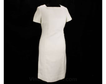 Size 8 White Dress - 1960s Pure White Short Sleeve Sheath - Vera Maxwell Original - Summer 60s Linen Dress - NOS Deadstock - Bust 36 - 48734