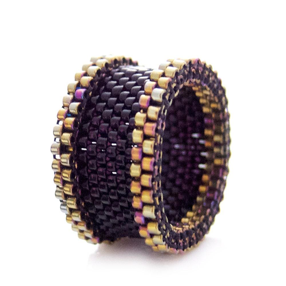 Black and gold ring black ring beaded ring dreadlock bead black and gold ring black ring beaded ring dreadlock bead statement ring barrel couple rings ooak ring baditri Choice Image