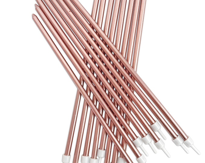 Free UK Shipping Tall Metallic Candles for Cakes or Table Decorations. Pack of 16. Free delivery