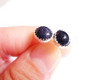 Blue Goldstone Earring Studs, Sparkly Earrings, Glitter Jewelry, Starry Night Earrings, Dark Blue Studs, Sterling Silver Hypoallergenic