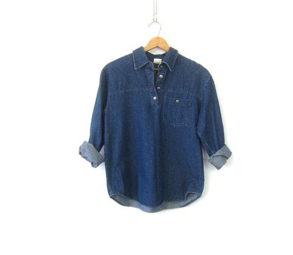 Vintage Jean shirt Pullover Button Collar Henley Denim Pocket Shirt 90s Casual Preppy Shirt Normcore Women's Size Small Medium