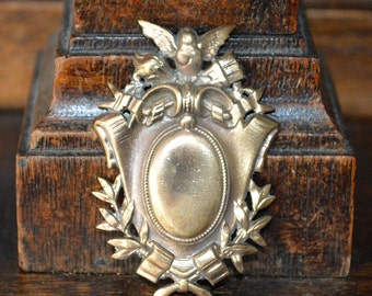 Antique Small French Cherub Shield Laurel Wreath Findings Trim Hardware Mount Sold Individually