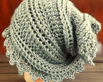 Crochet Head Scarf Wrap, Heather Gray Crochet Scarf, Head Wrap, Womens Head Scarf, Headscarf Wrap, Crochet Wrap, Gray Scarf Lauren