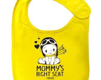 Yellow Baby 'Mommy's Right Seat' Bib by runway THREE-SIX