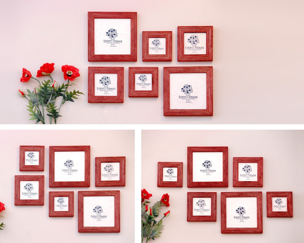 Gallery wall picture frame set of 6 square photo frames size 8x8 sold by eventframe jeuxipadfo Image collections