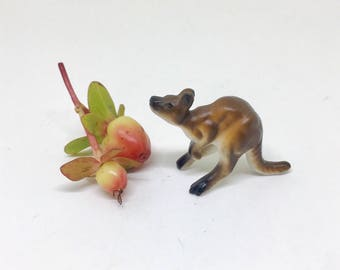Vintage Kangaroo Figurine, Bone China Animal, Tiny Miniature Kangaroo