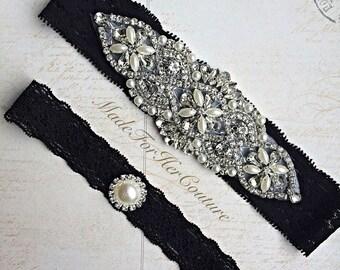 Wedding Garter, Bridal Garter,Stretch Lace Garter,Black Rhinestone garter set,Wedding Garter Set, Garter Belt, Vintage wedding Garter,
