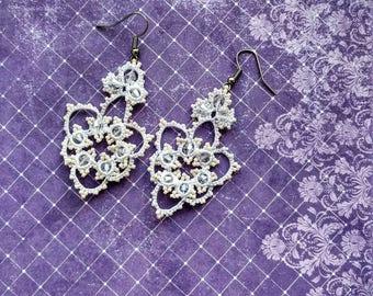 white earrings lacy wedding flower in tatting