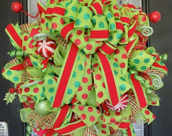 Christmas Wreath, Holiday Wreath, Christmas Door hanger, Front door wreath, Whimsical Wreath, Red and Green Wreath, Outdoor wreath