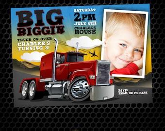 Semi Truck Big Riggin Printable Birthday Invitation
