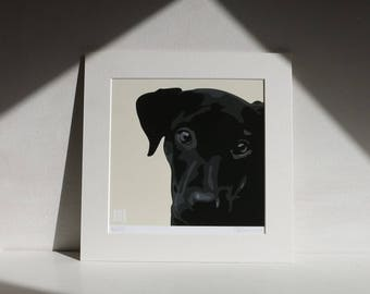 Black Labrador square ART PRINT