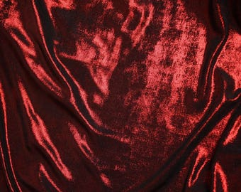 "2 Way Stretch Nylon 44"" Wide Shiny Red On Black 52 Fabric Sold By the Yard - Free Shipping"