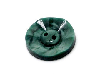 Vintage button, green, round, fancy, sewing
