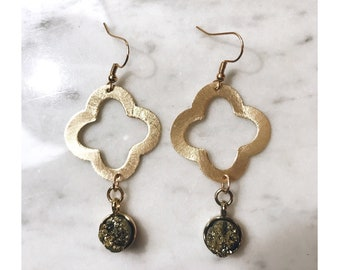 Gold Druzy Quatrefoil Earrings