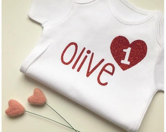 Birthday Love Heart T-shirt for all ages. Glitter or Matte for girls with any name