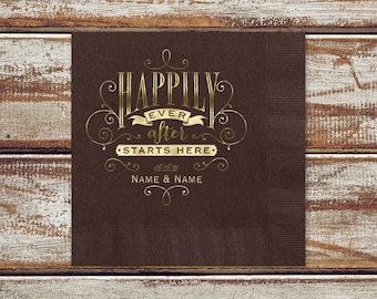 Wedding Rustic Brown Napkins | Personalized Brown Beverage Or Luncheon Napkins Happily Ever After Starts Here, Wedding Date And Names