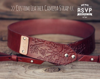 Custom Leather Camera Strap, Handmade personalized gift, gift for photographer, branches, tree, Custom text, name initials