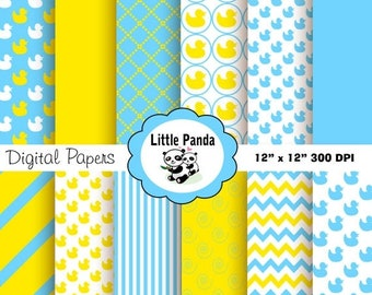 70% OFF SALE Rubber Duck Digital Paper 12 jpg files 12 x 12 - Instant Download - D195