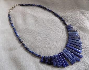 Sodalite and Lapis Lazuli Fan Necklace