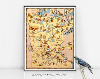 MINNESOTA MAP PRINT - vintage 1930's picture map print for framing and gift giving - illustrator Ruth Taylor White - vintage home decor