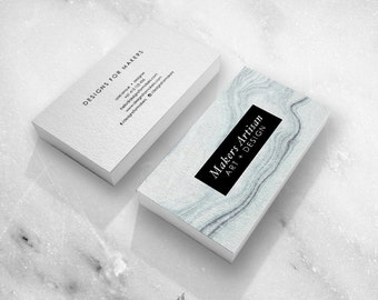 Marble business card calligraphy business card premade