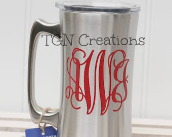 True North Stainless Steel Beer Stein Personalized Beer Stein Mug Monogram Bridal Shower Bridesmaid  Groom Beer Mug 21st Birthday Gift