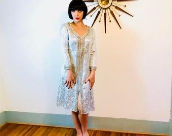 Mod Metallic Dress, 60s silver dress, Space Age Dress, 60s Cocktail Dress, 1960s Metallic dress, Vintage 60s dress, Silver sequin dress