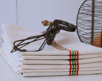 French linen tea towels - multi stripe