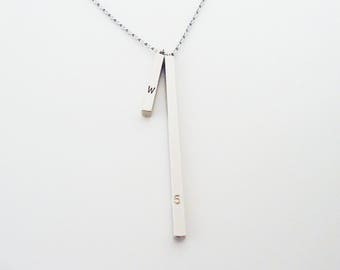599. Silver color, 4 Sided Vertical Bar Necklace in Mixed Heights ,Vertical Bar Necklace,Hand Stamped Initial Necklace, Tiny Bar Necklace