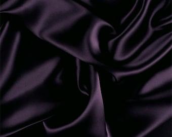 Aubergine Silk Charmeuse, Fabric By The Yard