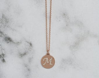 Round M Diamond Initial Pendant with Chain - Rose Gold M Pendant
