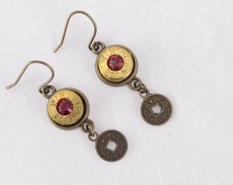 Earrings-bullet casing Winchester 9mm-red Swarovski crystal-coin charm dangle-gun jewelry-country rustic-pistol jewelry-dangle earrings