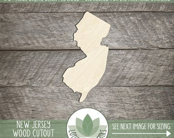 New Jersey, Unfinished Wood New Jersey Laser Cut Shape, DIY Craft Supply, Many Size Options