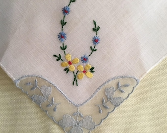 Vintage Handkerchief / Made in Switzerland / Tiny Embroidered Flowers