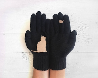 Pet Gloves, Cat Gloves, Black Gloves, Cat Gift, Sales, Mother's Day Gift, Pet Lover Gift, Women Gloves, Mom Gift, Pet Gift, Kitty Gloves