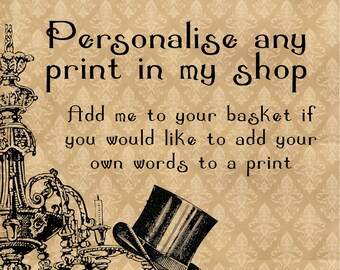 Personalise any print in my shop