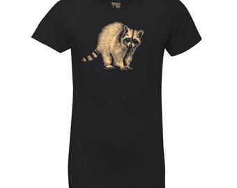 Girl's Raccoon Princess T Shirt, 10% Donated to Animal Causes, Kid's Wildlife Tee