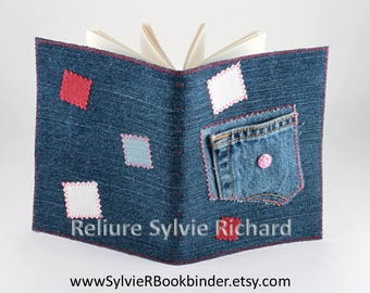 Recycled Jeans 's Notebook #10 - diary – travel journal - blank book – sketchbook, drawing, notes, calligraphy...  soft cover - bookbinding