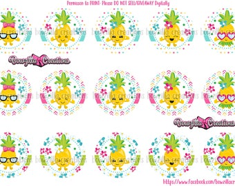 Pineapple Images- INSTANT DOWNLOAD- 1 Inch Circles- Bottle Cap Images- Pineapple- Summertime- Pineapple Circles- BCIs- Pineapple Hair Bow