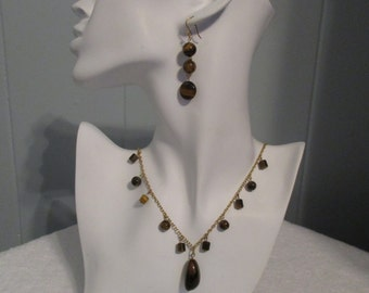 Tigereye Necklace and Earrings Set