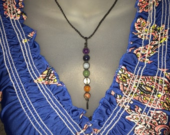 Chakra Necklace - Chakra Crystal Necklace - Braided Necklace - Crystal Healing Necklace - Gift