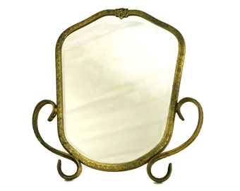 French Antique Brass Standing Makeup Mirror. Looking Glass. Vanity and Boudoir Decor. Gifts for Her