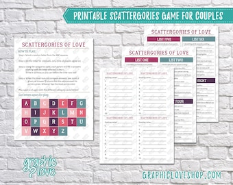 Printable Couples Scattergories Game, 8 Category List Cards   Digital PDF File, Instant Download