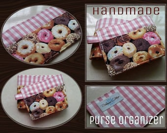 20 inch / 6 pockets Purse / Bag Organizer Insert - (small) Pink Checked and Sweet Donuts print fabric