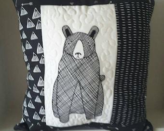 Woodland Bear Cushion, Nursery Cushion, Baby Shower gift