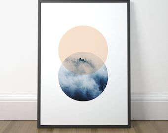 Modern Abstract Printable, Scandinavian Circle Print, Geometric Circle Print Art, Modern Clouds Print, Instant Download, Digital Print