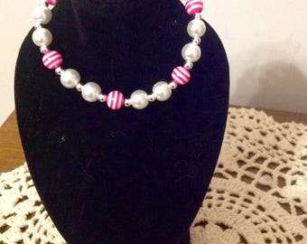 "Pearls and Pink Striped  beads - Jewerely Set for Your 18"" or American Girl Doll"