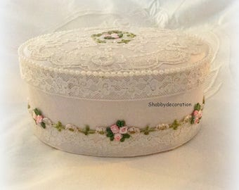 Jewelry box oval romantic shabby silk and antique lace